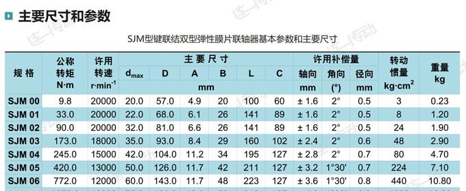双膜片联轴器主要尺寸和参数